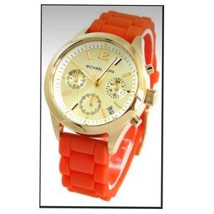 Michael Kors Peyton Gold Tone Orange Jelly Band